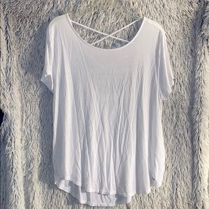 Ladies White Open Back Short Sleeve Shirt
